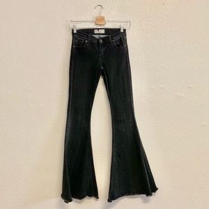 Free People Flare Jeans in Faded Black